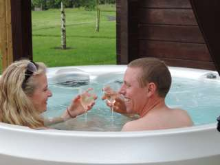 This lodge has its own private hot tub