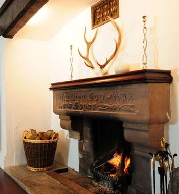 A roaring fire at The Cleeve, Porlock.