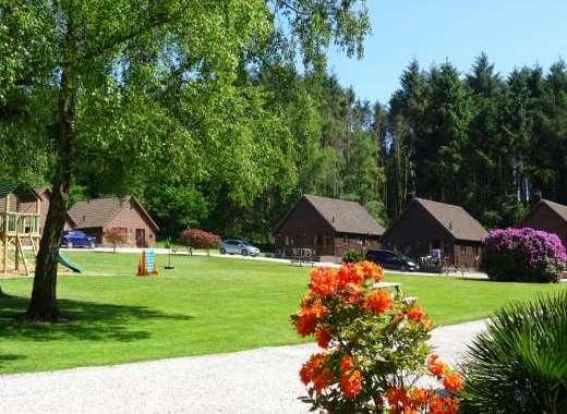Beautiful spacious grounds at Alpine Park Cottages with children's play area