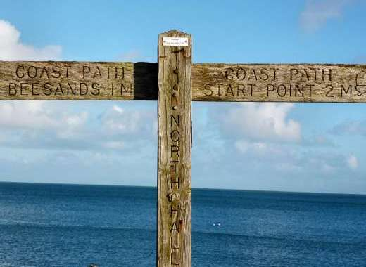 South West Coast Path signposts, near Dittiscombe, South Devon