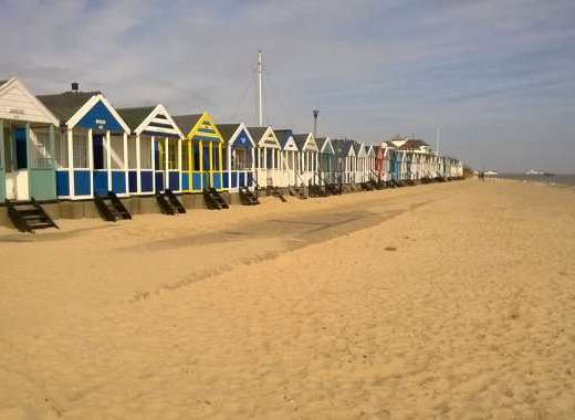Just some of the colourful Southwold Beach Huts