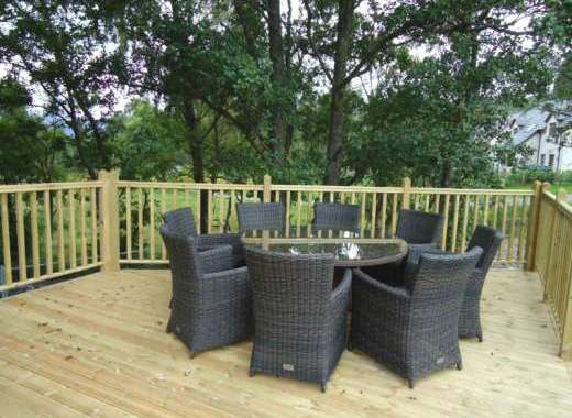 Outdoor decked area with garden furniture