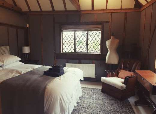 boutique chic bedroom accommodation farmhouse sussex group accommodation