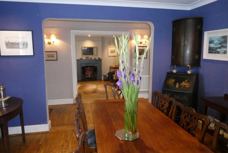 Blue Dining Room leading to Sitting Room