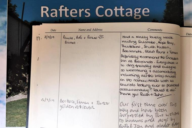 Guest book at Dittiscombe in South Devon