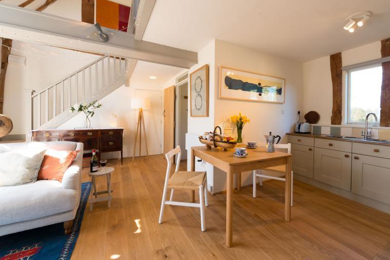 Open plan living area, Deepwell Granary, Suffolk
