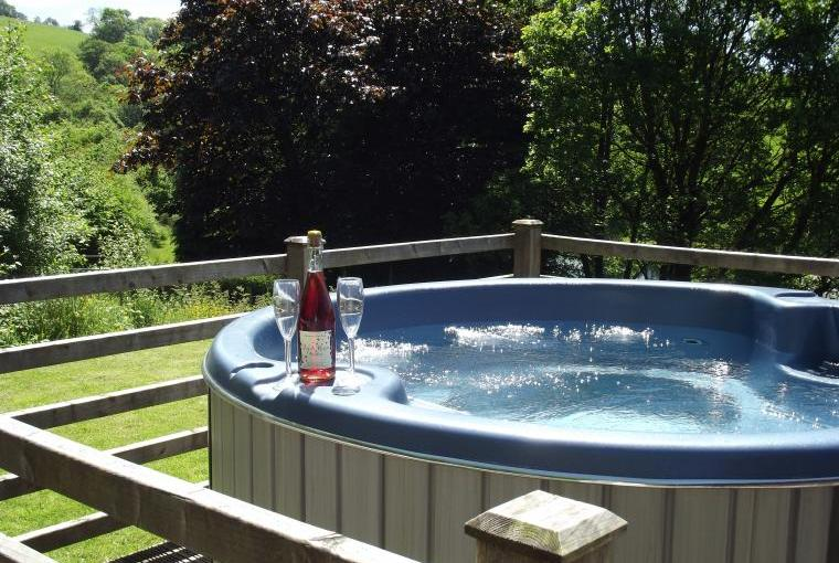 lodge with hot tub in Wales
