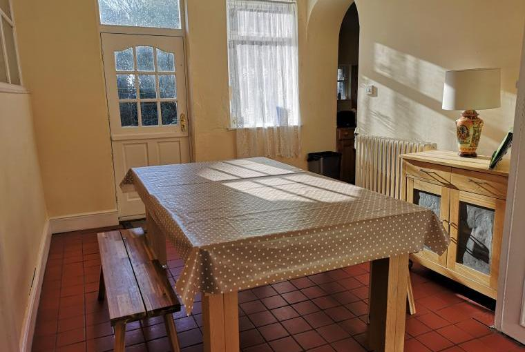 The breakfast table doubles as a pool Snooker table