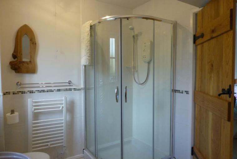 Shower and hand basin, shaving point, fresh towels