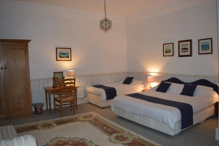 Blue room, room 1, super king and single or twin and single, option of sofa bed