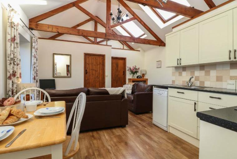Open plan living area, Brock's Self-Catering Cornish Barn Conversion