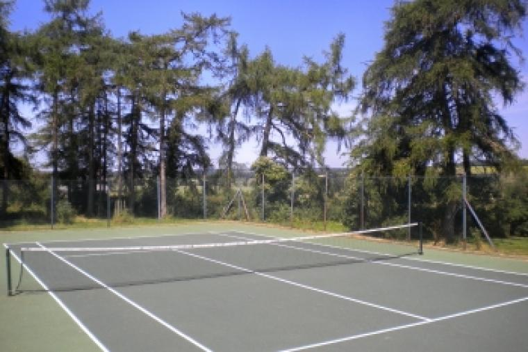 Hard tennis court.