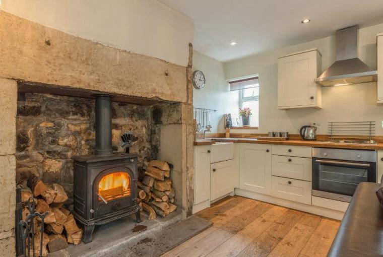 Warming woodburner, Ryehill Farm Cottage