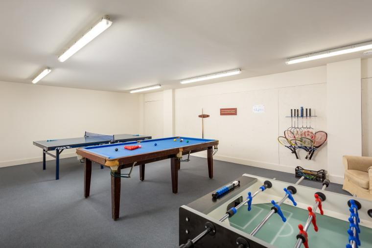 Games room with snooker, table tennis and table football.