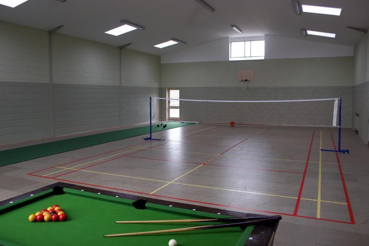 Sports Hall - pool, tennis, bowls, badminton, trampoline, basketball hoop