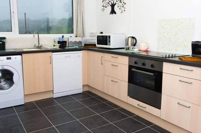 Kitchen with views out over the garden