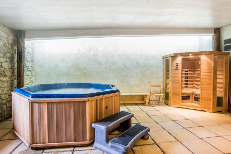 The spa hot tub and sauna