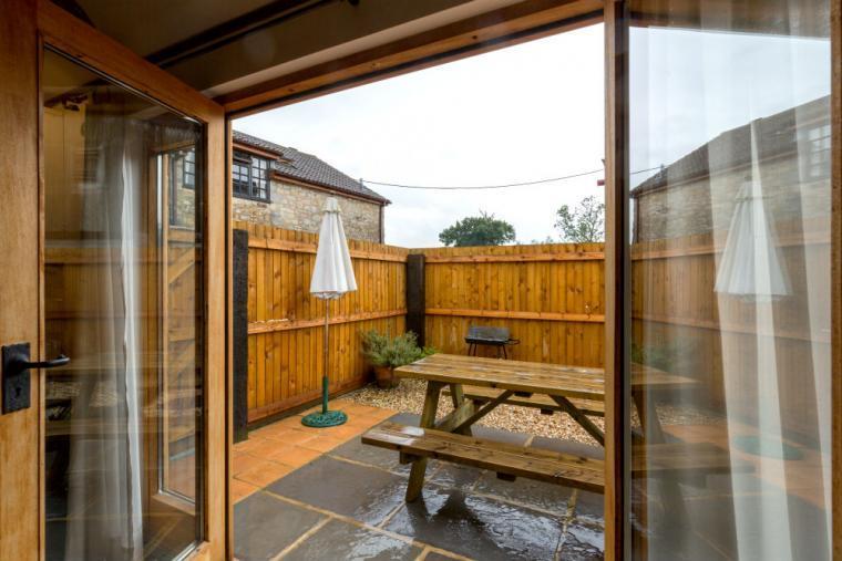 Door to enclosed patio