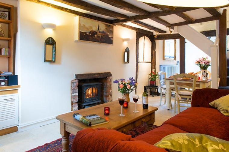 Sitting room with exposed beams