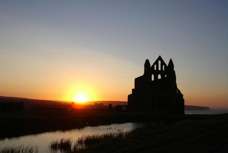 Abbey at sunset