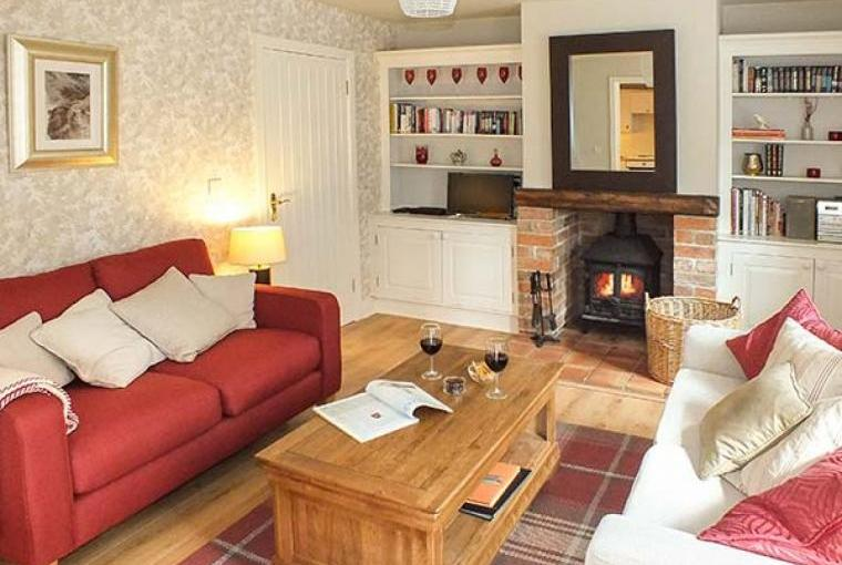 Grove Country Cottage Lounge with Woodburner