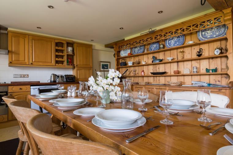 Spacious farmhouse kitchen/dining area