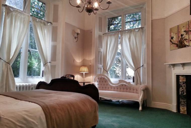 Bedroom with garden views