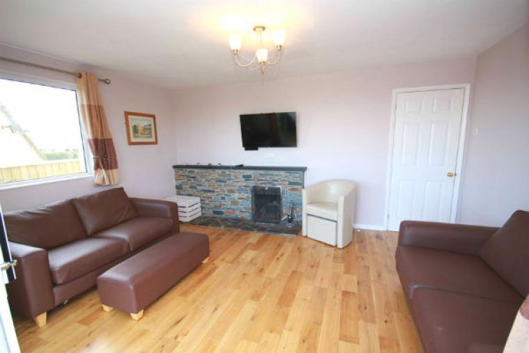 Lounge with open fire and Smart Tv at Tubbs Delight holiday home South Devon