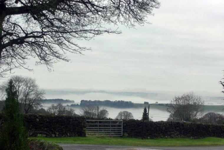 Misty view over the valley
