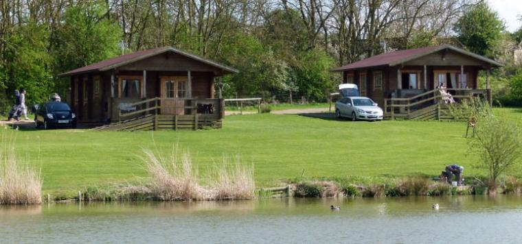 Cabins beside a fishing lake, Leicestershire, Photo 1