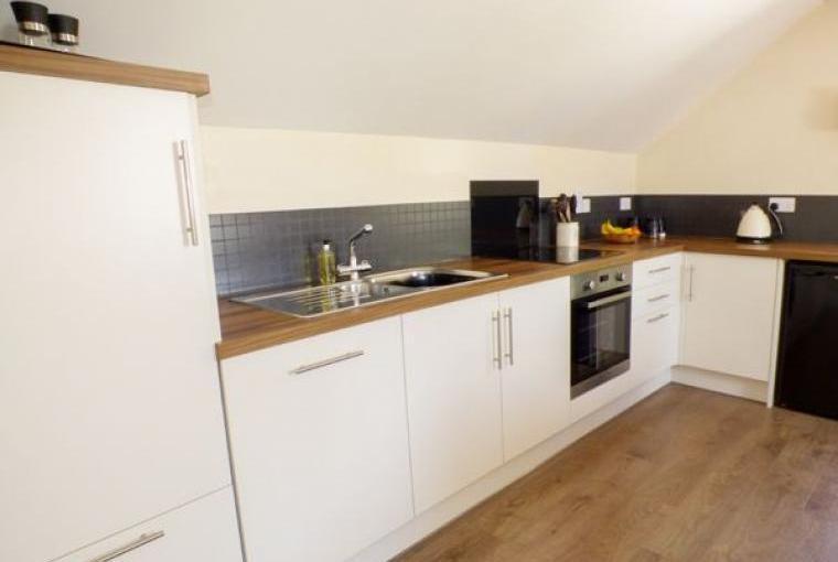 Kitchen area, Hayloft Couple's Barn Apartment, Pembrokeshire, Wales