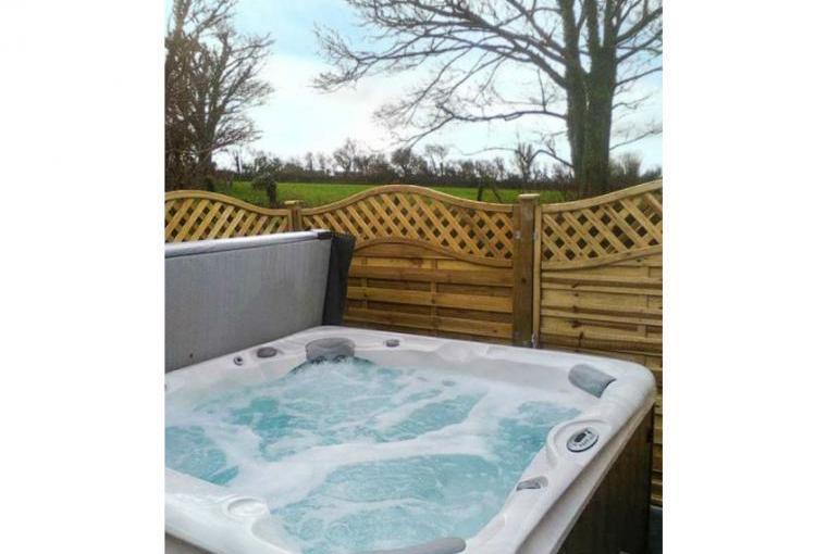 Bubbly outdoor hot tub