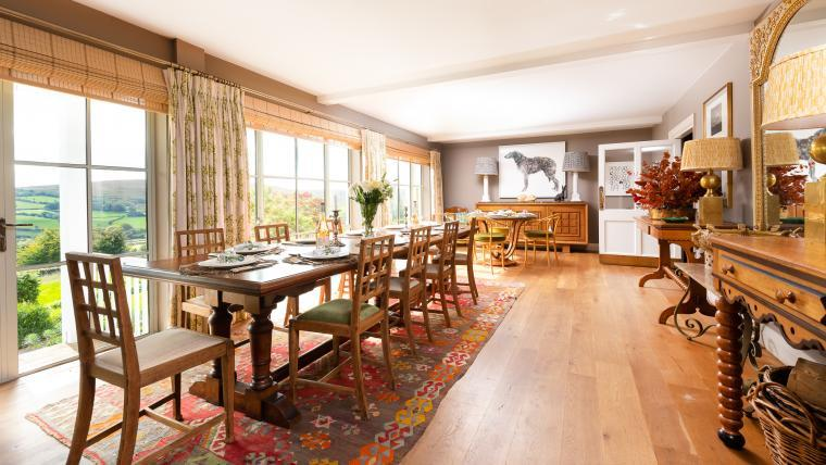 Impressive dining room with amazing country views