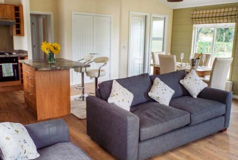 Open plan living area, Whitey Top Lodge, Dorset