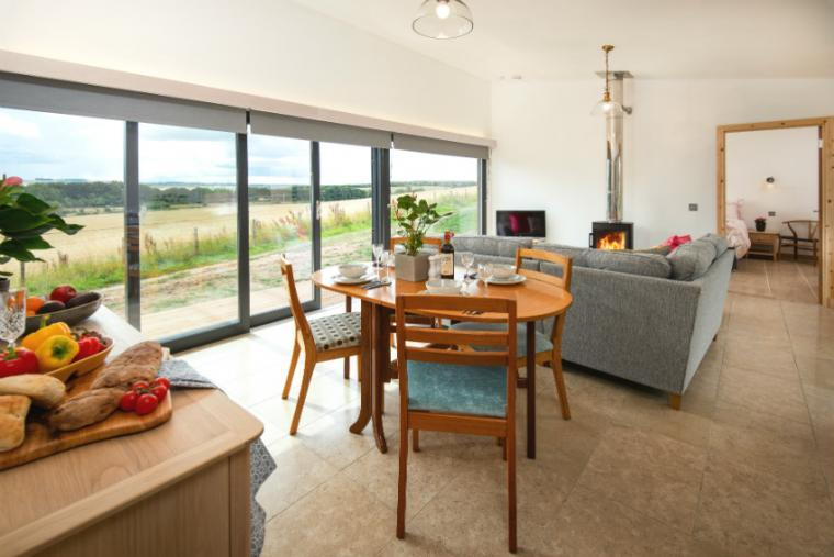Open plan living area, Orchard Hideaway, Scottish Borders