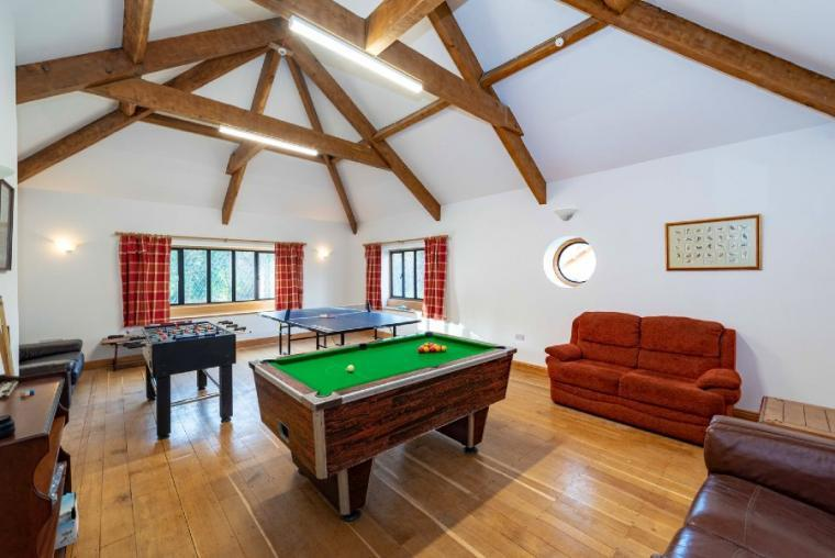 Games room with table tennis, pool and table football