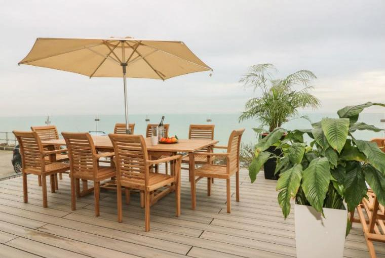 Fabulous decked terrace with sea views