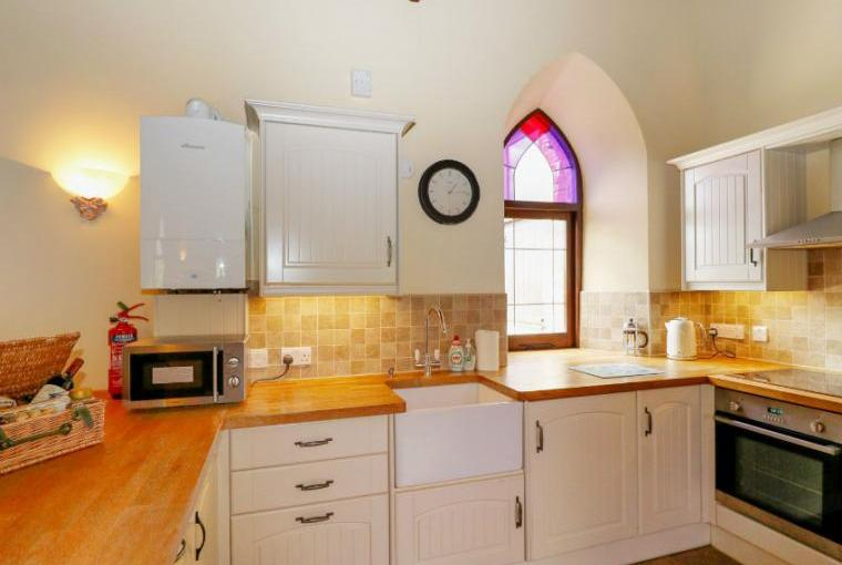 Kitchen with stained glass window