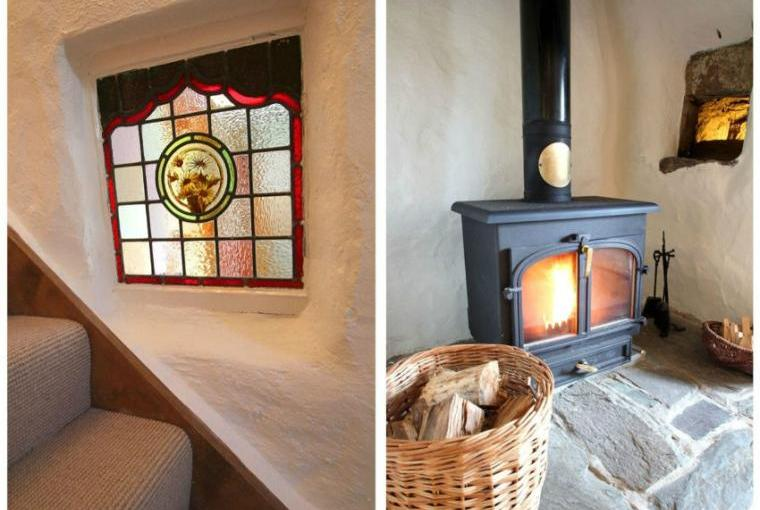 Stained glass window and warming woodburner