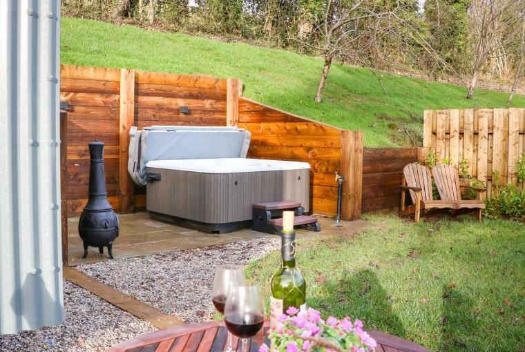 Warm bubbly outdoor hot tub
