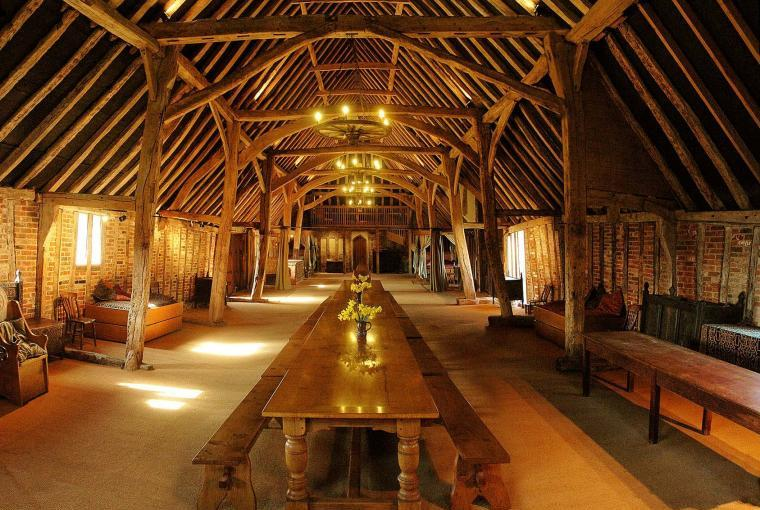 The Tudor barn interior