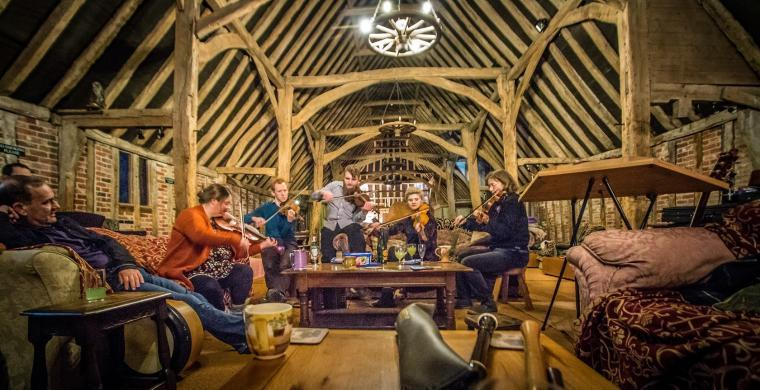 Musicians at the Tudor barn