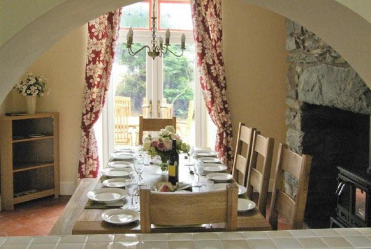 Dining room with woodburner