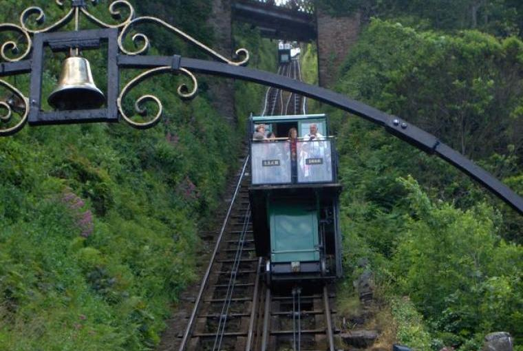 Victorian Cliff Railway carriage descending to the beach at Lynmouth