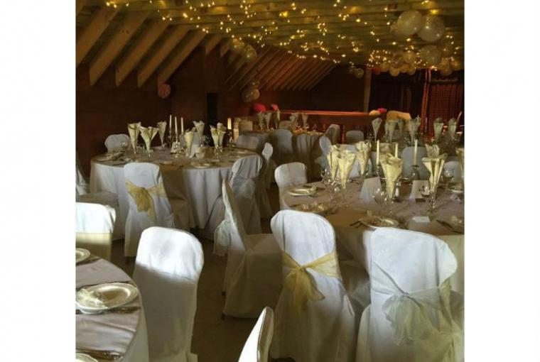Special Celebration Barn decorated for wedding reception