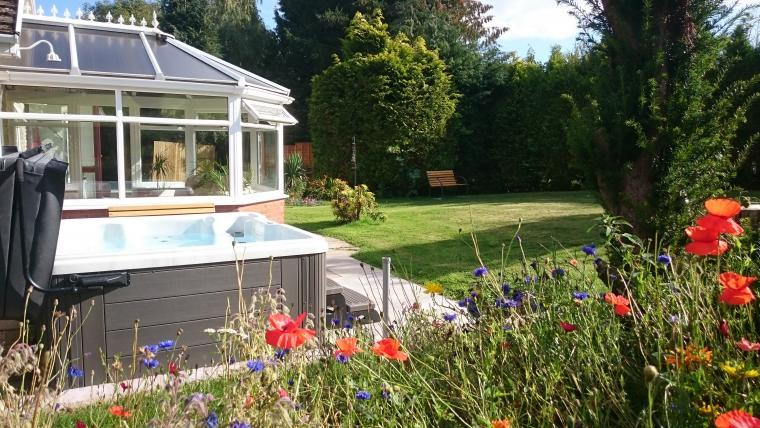 private hot tub and garden