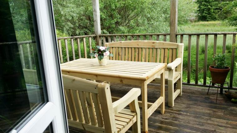 This is from the living room out onto our secluded decking showing our new decking furniture as of June 2015