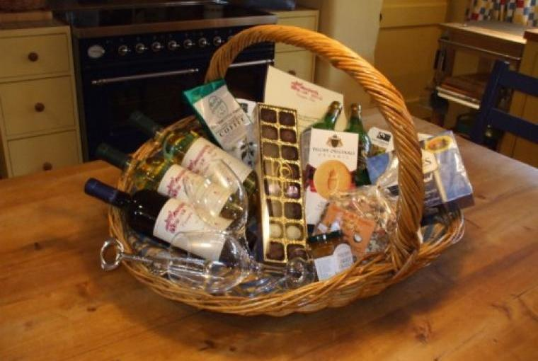 Generous welcome hamper packed with local delicacies