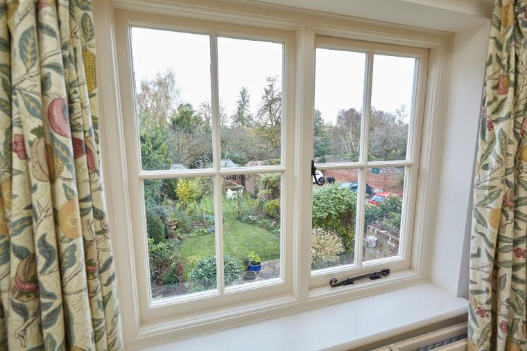 Panoramic views of private garden and Dedham Vale from the master bedroom