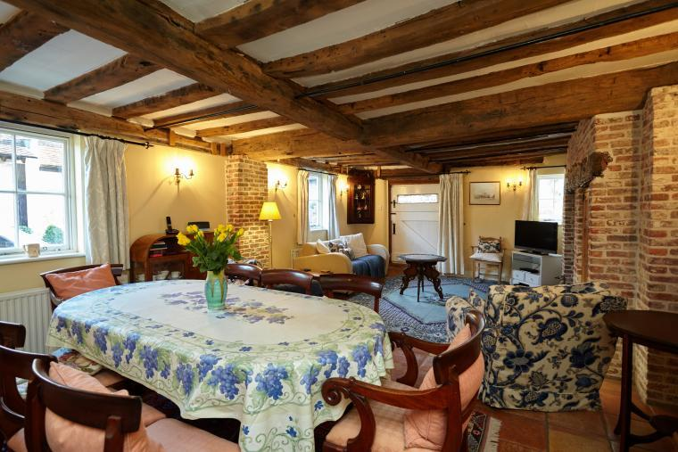 Dining Room and Living Room with original Tudor beams